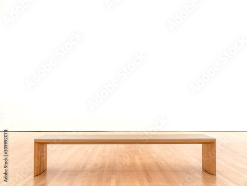 White room in a museum with a bench Canvas-taulu