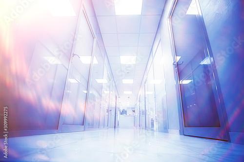 Canvastavla modern medical clinic, bright blurred background, corridor, spacious modern medi