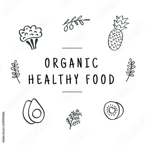 Organic healthy food. Healthy food line icon set. Vector Fototapete