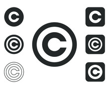 Flat Style Copyright Icon Shape Set. C Letter Logo Symbol Sign. Vector Illustration Icon. Isolated On White Background. Intellectual Property Owner. Square And Circle Round Button Mark Pack.