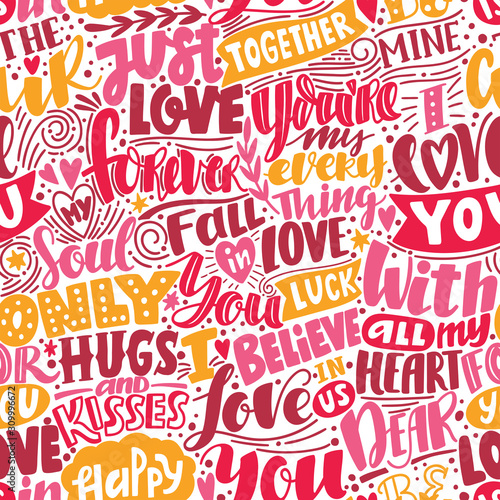 Fotografie, Obraz Vector seamless pattern with words about love, hearts
