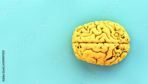 minimal yellow brain Wallpaper Mural