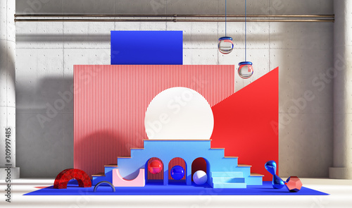 Photo Abstinence scene for product presentation in red and blue tones