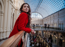 MOSCOW - MARCH 2017: Young Woman Portrait Inside Gum Department Store In Moscow.