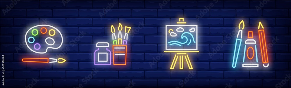 Fototapeta School of art neon sign set