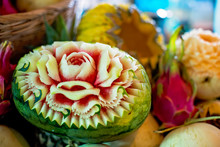 Hand Carved Melons In Thailand
