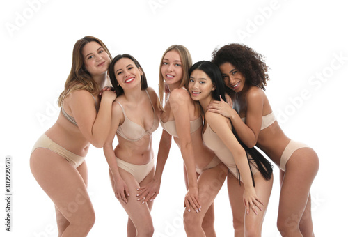 Fototapeta Group of women with different body types in underwear on white background obraz na płótnie
