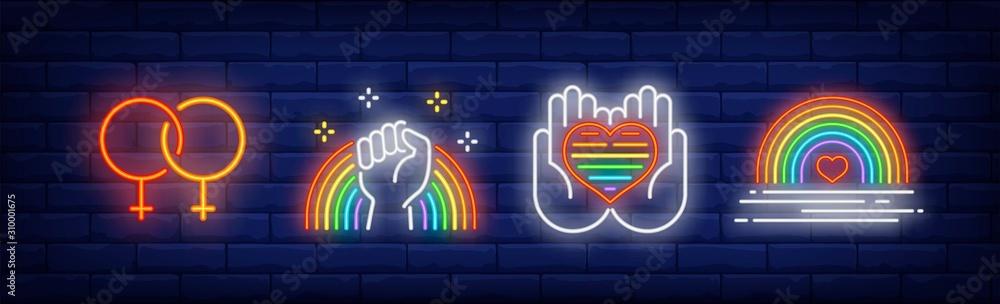 Fototapeta LGBT pride symbols neon sign set