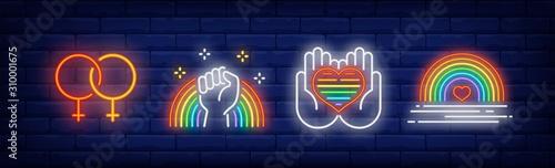 Fotografia LGBT pride symbols neon sign set