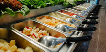 Close Up Salad Bar With Variou...