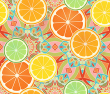 Citrus Fruit Slices On A Intricate
