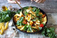 One Pan Pasta With Basil. Vegan Pasta. Selective Focus. Macro.