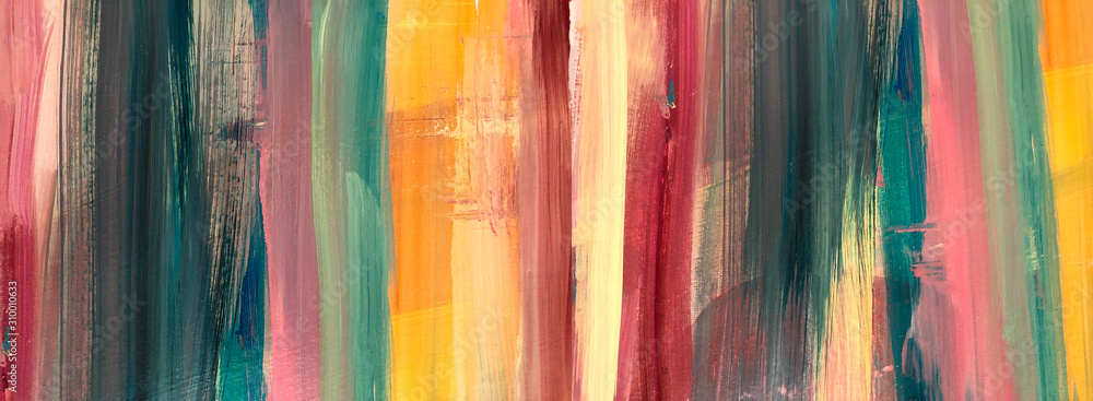 Fototapeta Oil Painting colorful texture. Abstract  Fragment of artwork on canvas . Spots of oil paint. Brushstrokes of paint. Modern art. Colorful background. Burnt orange Yellow, Pink, Pine green, Red. Rainbow