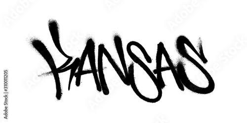 Fototapety, obrazy: Sprayed Kansas font graffiti with overspray in black over white. Vector illustration.