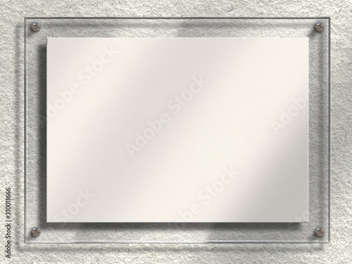 Closeup 3d large empty plain blank clear transparent see through translucent perspex plastic glass raised standoff wall door room building sign plaque with white copy space Canvas Print