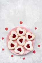 Heart Shaped Linzer Cookies For Valentines Day With Love