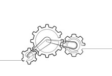 Gear And Cog One Continuous Line Abstract Vector Graphic Icon