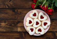 Heart Shaped Linzer Cookies In...