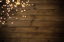Christmas Lights On Old Wood