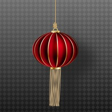 Festive Chinese Red Lantern Template. 3d Symbol Of Chinese Culture.