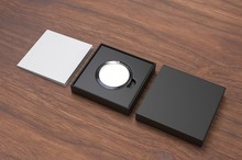 Blank Proof Coin In Plastic Case And Paper Box. 3d Render Illustration.