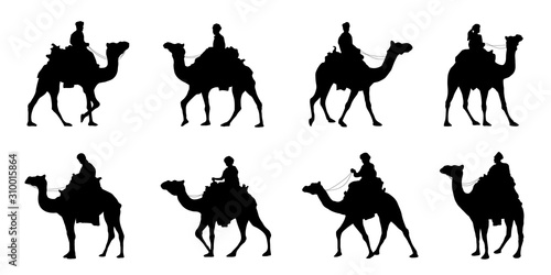 camel riders silhouettes Fototapete