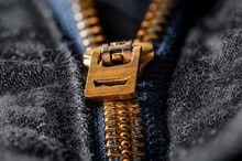 Extreme Closeup Of Zipper On Black Jeans