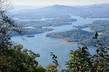 View On Lake Chatuge From Bell Mountain. Hiawasse, Georgia, USA. On Bell Mountain The Rock Are Covered With Spray Paint.