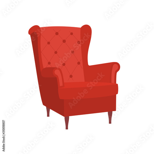 Vintage red armchair with legs on white background Wallpaper Mural