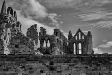 Greyscale Of The Ruins Of Whit...