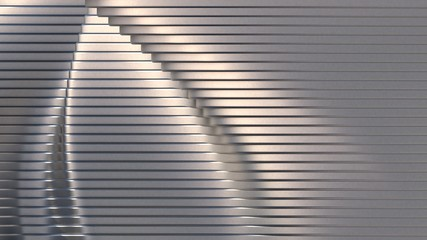 Stainless steel shape. Abstract architectural pattern