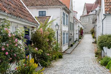 Panel Szklany Uliczki Altstadt von Stavanger, Südwestnorwegen