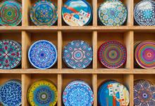 Background Of Plates In Heraklion, Crete, Greece