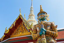 Demon Guardian In Wat Phra Kaew (Temple Of The Emerald Buddha), Grand Palace In Bangkok, Thailand.
