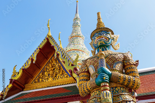 Demon Guardian in Wat Phra Kaew (Temple of the Emerald Buddha), Grand Palace in Bangkok, Thailand Canvas Print