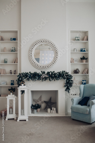 Carta da parati  View over white modern room decorated for Christmas holidays