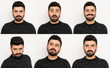 Set of Facial Expressions of handsome man isolated on white background
