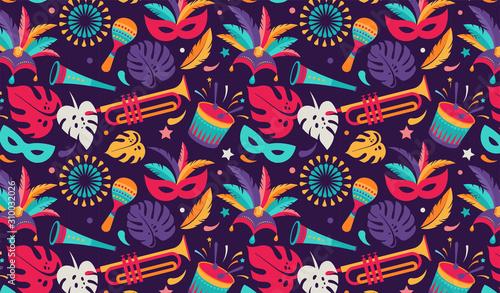 Brazilian Carnival, music festival, masquerade flyer template Fotobehang