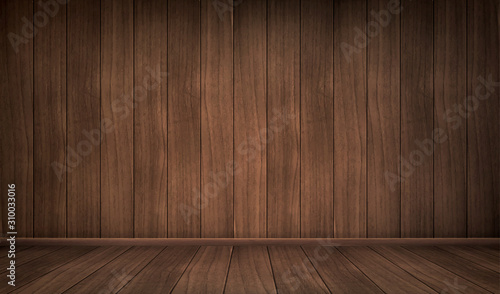 Obraz Empty wooden room. Vector realistic interior with floor and wall of natural dark wooden boards. Vintage design of house or studio indoor - fototapety do salonu