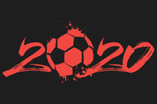 Abstract Numbers 2020 And Soccer Ball From Blots