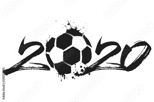 Fotomural Abstract numbers 2020 and soccer ball from blots