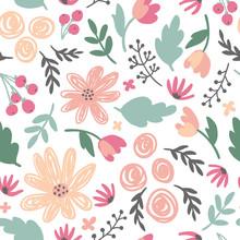 Cute Floral Ditsy Vector Seaml...