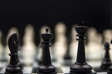 Two Black Chess Pieces Close-u...