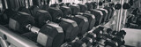Fitness gym health club room closeup of heavy free dumbbells weights banner panorama background.