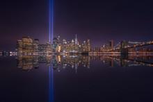 USA, New York, New York City, Manhattan Skyline With Tribute In Light At Night