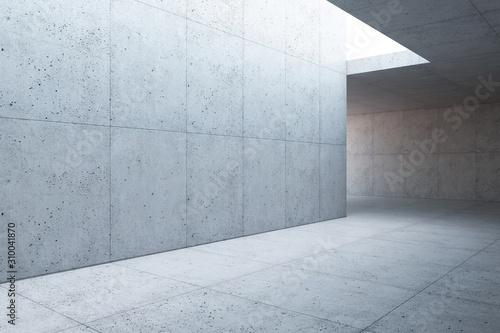 Fototapeta blank concrete space interior, 3d rendering obraz