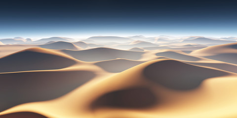 Sand dunes in the desert, hot and dry desert landscape
