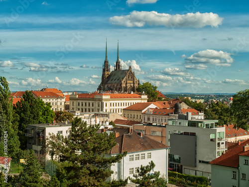 Brno city landscape view with Cathedral of St. Peter and Paul