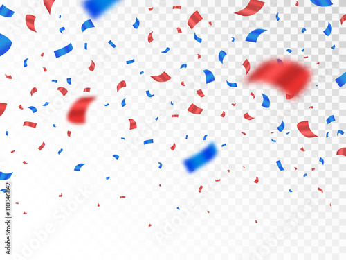 Obraz Red and blue confetti isolated on transparent background. Anniversary decoration elements. Falling color confetti. Realistic defocused serpentine. Vector illustration - fototapety do salonu