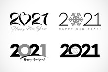 Big Set Of Logo 2021 Text Design. Collection Of Happy New Year Label And Happy Holidays Template Greeting Card. Vector Illustration Isolated On White Background
